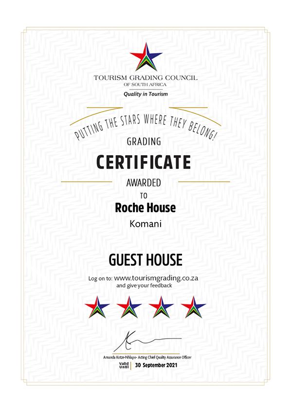 Roche House 4 Star Certificate